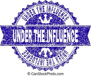 Grunge Textured UNDER THE INFLUENCE Stamp Seal with Ribbon