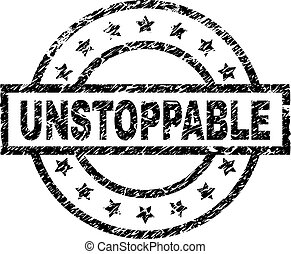 UNSTOPPABLE stamp seal watermark with distress style. Designed with rectangle, circles and stars. Black vector rubber print of UNSTOPPABLE text with corroded texture.