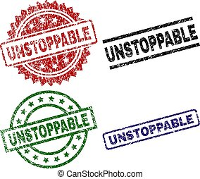 UNSTOPPABLE seal prints with corroded style. Black, green, red, blue vector rubber prints of UNSTOPPABLE tag with grunge style. Rubber seals with round, rectangle, medallion shapes.