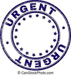 Grunge Textured URGENT Round Stamp Seal