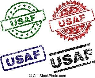 Grunge Textured USAF Seal Stamps - USAF seal imprints with...