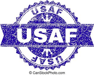 Grunge Textured USAF Stamp Seal with Ribbon - USAF rosette...
