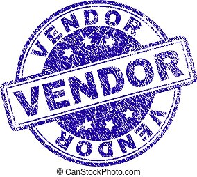VENDOR stamp seal watermark with distress texture. Designed with rounded rectangles and circles. Blue vector rubber print of VENDOR title with dirty texture.