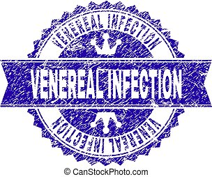 Grunge Textured VENEREAL INFECTION Stamp Seal with Ribbon
