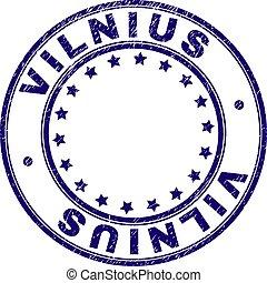 Grunge Textured VILNIUS Round Stamp Seal