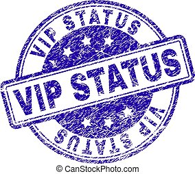 VIP STATUS stamp seal watermark with grunge texture. Designed with rounded rectangles and circles. Blue vector rubber print of VIP STATUS caption with grunge texture.
