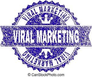 Grunge Textured VIRAL MARKETING Stamp Seal with Ribbon
