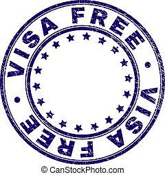 Grunge Textured VISA FREE Round Stamp Seal