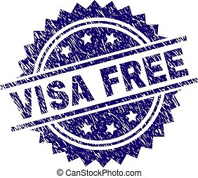 Grunge Textured VISA FREE Stamp Seal