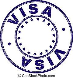 Grunge Textured VISA Round Stamp Seal