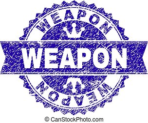 Grunge Textured WEAPON Stamp Seal with Ribbon