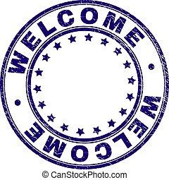 Grunge Textured WELCOME Round Stamp Seal