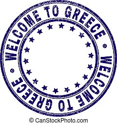 Grunge Textured WELCOME TO GREECE Round Stamp Seal