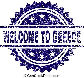 Grunge Textured WELCOME TO GREECE Stamp Seal