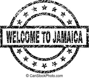 Grunge Textured WELCOME TO JAMAICA Stamp Seal