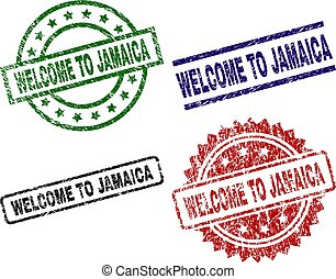 Grunge Textured WELCOME TO JAMAICA Stamp Seals