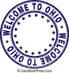 Grunge Textured WELCOME TO OHIO Round Stamp Seal