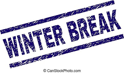 WINTER BREAK seal print with grunge style. Blue vector rubber print of WINTER BREAK tag with grunge texture. Text caption is placed between parallel lines.
