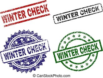 Grunge Textured WINTER CHECK Seal Stamps