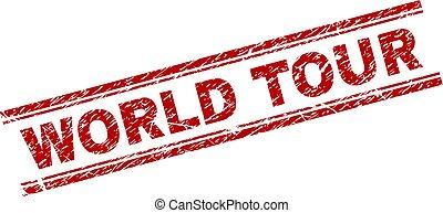 Grunge Textured WORLD TOUR Stamp Seal - WORLD TOUR seal...