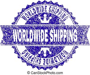 Grunge Textured WORLDWIDE SHIPPING Stamp Seal with Ribbon