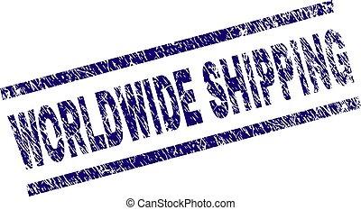 Grunge Textured WORLDWIDE SHIPPING Stamp Seal