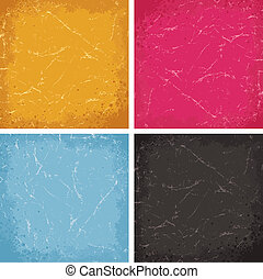 Grunge Textures Set. Colored Vector Backgrounds.