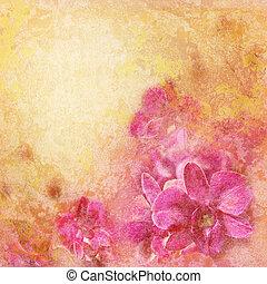 grunge, textuur, met, abstract, romantische, floral, achtergrond