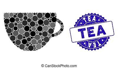 grunge, thé, icône, timbre, mosaïque, tasse
