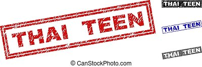 Grunge THAI TEEN Textured Rectangle Stamp Seals