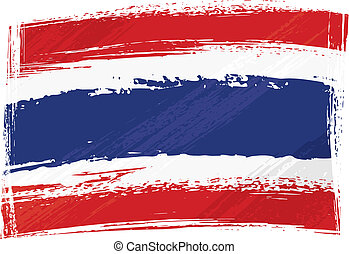 Thailand national flag created in grunge style