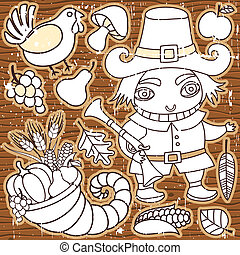 Grunge Thanksgiving elements on the wooden background. Pilgrim boy, turkey, cornucopia, vegetables, fruits and autumn leaves Thanksgiving series