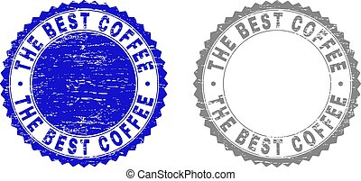 Grunge THE BEST COFFEE Scratched Stamp Seals