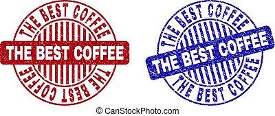 Grunge THE BEST COFFEE Textured Round Stamp Seals