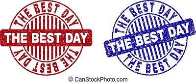 Grunge THE BEST DAY Textured Round Stamps