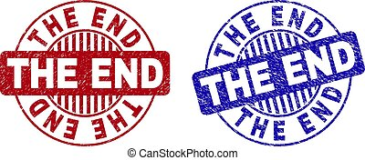 Grunge THE END Scratched Round Watermarks