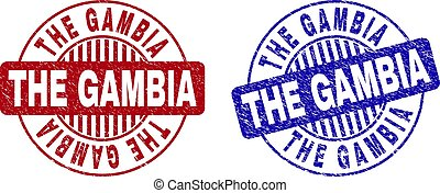 Grunge THE GAMBIA Scratched Round Stamp Seals