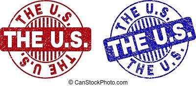 Grunge THE U.S. Scratched Round Watermarks
