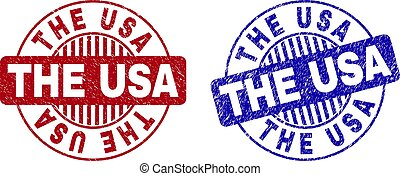 Grunge THE USA Scratched Round Watermarks