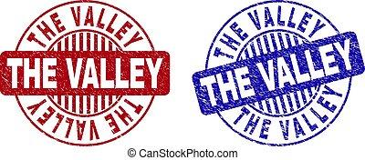 Grunge THE VALLEY Textured Round Stamp Seals