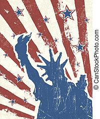 grunge, themed, fondo., norteamericano, vector., día,...