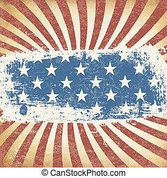 grunge, themed, orientation., américain, arrière-plan., drapeau, vecteur, horizontal, vieilli, template.