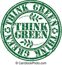 Grunge think green rubber stamp, ve