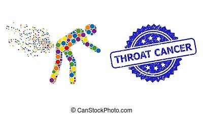 Bright colored collage farting person, and Throat Cancer textured rosette stamp seal. Blue seal has Throat Cancer title inside rosette.