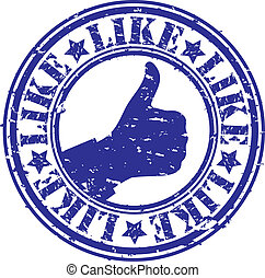 Grunge thumb up like rubber stamp, vector