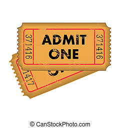 Grunge Tickets - Grunge tickets isolated on a white...