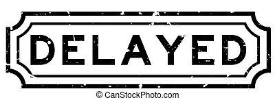 grunge, timbre, arrière-plan noir, retardé, cachet, caoutchouc, mot, blanc