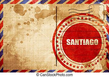 grunge, timbre, arrière-plan rouge, santiago, poste aérienne