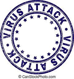 grunge, timbre, cachet, virus, attaque, textured, rond