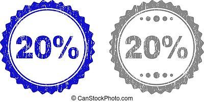grunge, timbre, cachets, 20%, textured, ruban